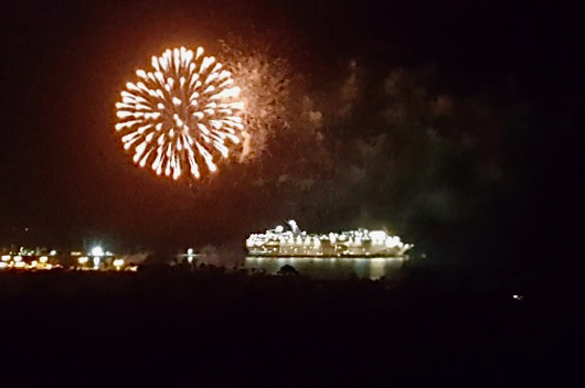 Fireworks bursting over the harbor and a cruise ship signal the end of a full day, and the St. Croix carnival season. (Photo by Jess Parker)