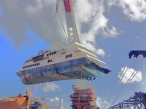 Resolve Marine uses a 500-ton crane to lift a Puerto Rican ferry. (Resolve Marine photo)