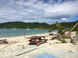 The beach at Maho Bay is open but still shows signs of storm damage. (Photo by David Holzman)