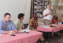 FEMA's Michael Foley, USDOI Guy Hughes, Senate President Myron Jackson, Richard Kurin of the Smithsonian Institution and, Sonia Jacobs Dow, St. Croix Landmarks Society, discuss hurricane recovery.