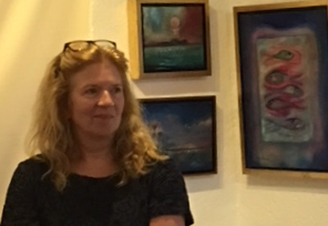 Danish director Helle Stenum discusses her film during a screening at the Bajo El Sol Gallery on St. JOhn.