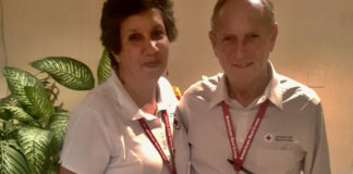Lilly Alvarez and John Duck honored Red Cross volunteers.