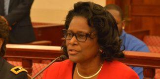 VITEMA Director Mona Barnes testifies before the Senate in this February file photo. (V.I. Legislature photo by Barry Leerdam)