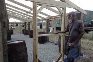 Dale Browne of Sejah Farms shows of his new nursery/greenhouse being built with the help of volunteers. (Susan Ellis photo)