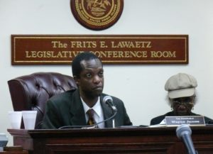 Sen. Wayne James chairs a 2010 hearing on St. Croix (File photo)