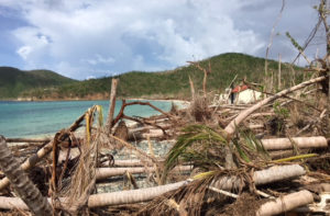 Debris piled up along the beach at Maho Bay in October.