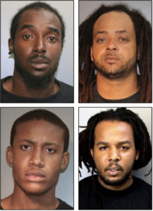 Police are seeking these four 'persons of interest' in Saturday's double homicide. Clockwise, from upper left, Elijah Jackson, Jamal J. Young, Ivan James and Malachi Benjamin. (VIPD photos)