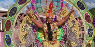 A multi-colored costume sparkles