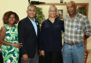 Angel Dawson and Marise James, center, seen here with their spouses Leslie Dawson and Anthony Paul, announced their campaign Saturday. (Submitted photo)
