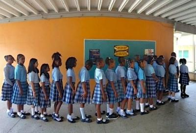 Lockhart Elementary School students line up for classes Tuesday