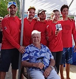 Crew of Crucian Confusion pose with Captain Nick Castruccio at the 2016 St. Croix Regatta. (Anne Salafia photo)