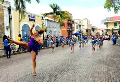 Kiani Ottley helps bring the St. Croix Majorettes