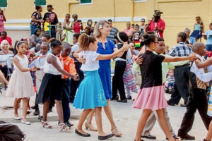 Barbara Walsh and Dancing Classrooms students do the foxtrot at a March 2017 performance at the Dorsch Center in Frederiksted. (Photo by Aisha Zakiya Boyd, Dancing Classrooms)