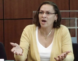 Kendall Tutein talks about funding for the Village Partners in Recovery during Tuesday's meeting,