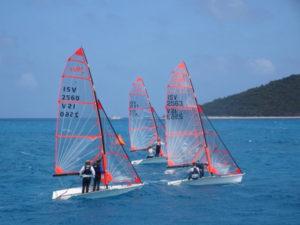 Three Rhodes 19s battle heavy weather in the 25th St. Croix Regatta. (Anne Salafia photo)