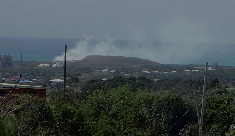Smoke from a March 2018 fire at the Anguilla Landfill caused a smokey day on St Croix. (Source photo by Susan Ellis)