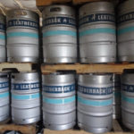 Kegs of craft beer sit on the racks at Leatherback Brewing Company. (Anne Salafia photo)