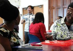 Workshop participants take turns telling stories about marine debris. (Judi Shimel photo)