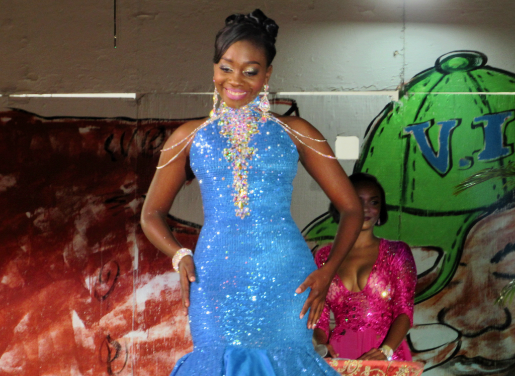 V.I. Carnival Queen Jikelle Martin takes part in the evening wear segment of the program.