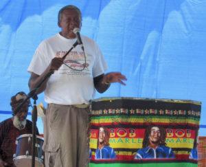 Eldritch Thomas, president of We Grow Food Inc., addresses the crowd.