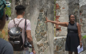 Historian Katherine Smith takes writers on a tour of the historic King's Town church ruins.