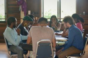 Poets workshop at the Moko Writers' Workshop at Frangipani Studio on Tortola.