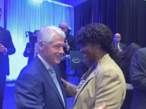 Delegate to Congress Stacey Plaskett meets wth former President Bill Clinton Tuesday in Miami. (Photo submitted by Plaskett's office)