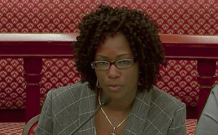 Interim Waste Management Authority Director Tawana Albany Nicholas testifies before the Senate in April. (V.I. Legislature file photo)