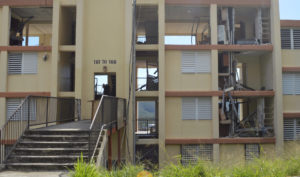 Funding announced from HUD Tuesday will help the territory repair public facilities like the Tutu Hi-Rise Apartments, condemned after severe damage in last fall's storms. (Bill Kossler photo)