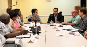 Vivek Daswani speaks at the meeting of the Ports Of Charlotte Amalie Task Force. (Government House photo)