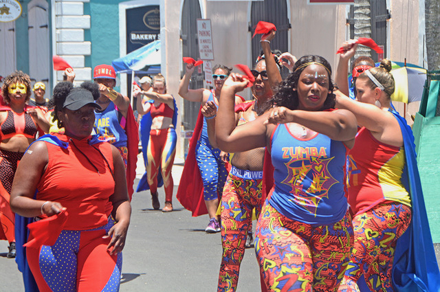 St. Thomas Zumba Fitness Carnival Troupe never stopped its energetic walking workout all the way to the square. (Gerard Sperry photo)