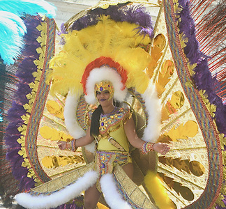 Interfernos Carnival Troupe brought more than 100 to thrill the crowd with extravagant costumes. (Gerard Sperry photo)