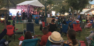 Concert goers gather for Jazz in the Park.
