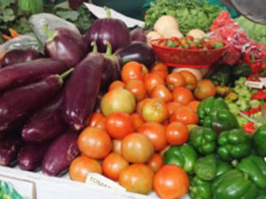 A pile of locally grown produce awaits consumers. (File photo)