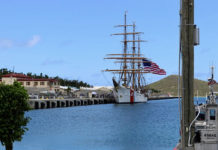 The tall ship Eagle is used as an on-the-water classroom for many Coast Guard cadets. It is the only active-duty sailing vessel in the U.S. military.