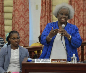 Joan Dawson takes part in the debate while her counterpart, Sen. Janette Sarauw, listens in. (Government House photo)