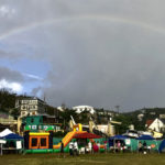 A rainbow brightens the clouds over the March 24 Light Up the Night fundraiser for the St. John Cancer Fund. (Photo by Krista Kramer)