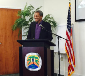 Roy Watlington at a meeting of the Integrated Ocean Observing System on St. Thomas in 2016. (IOOS photo)