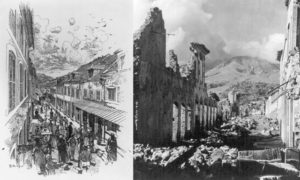 A sketch of Rue Victor Hugo, one of St. Pierre's commercial streets, before the 1902 eruption of Pelee, and a photo from afterwards. (Library of Congress)