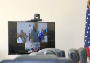 St. Croix Elections Board member Adelbert Bryan argues over video conference about the members' ability to meet in the wake of a Supreme Court order upholding the formation of a single elections board.