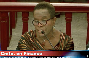 V.I. Director of Banking, Insurance and Financial Regulation Gwendolyn Hall Brady at Friday's hearing on legislation to bring the U.S. Virgin Islands closer to stateside norms for insurance regulation. (V.I. Legislature photo)