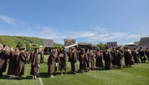 Lehigh University students line up for graduation. (Lehigh University photo)