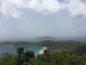 Sahara dust masks the view from the vantage point of Drake's Seat on the north side of St. Thomas, which on a clear day would extend to the British Virgin Islands. (Kelsey Nowakowski photo)