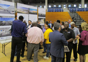 The public gather with VIPA officials and planners to get a first look at proposals for updating the Cyril E. King Airport. (Gerard Sperry photo)