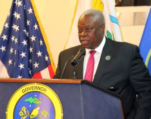 Gov. Kenneth Mapp discusses how he sees the refinery revenue kicking off economic growth that will sustain government raises he announced Monday. (James Gardner photo)