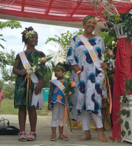 Miss Mango Melee winers, from left, Miss Mango Melee, 8-year old Ayana Nicholas from New York; Miss Mini Mango Melee, 3-year old Estelle Hendrington from St. Croix; and Miss Mature Mango Melee, Oyoko Loving of St. Croix.