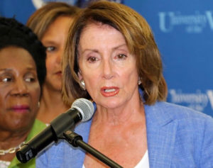 House Minority Leader Nancy Pelosi shares her observations after touring Puerto Rico, St. John and St. Thomas. (James Gardner photo)