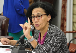 Sen. Nereida Rivera-O'Reilly (D-STX) asks questions about the government's contract with Bruckner Business Management & Consulting. (Photo by Barry Leerdman for the V.I. Legislature)