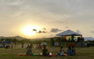 Festival goers begin to set up picnic blankets as the sun sets at the V.I. Royal Fest and Wellness Conference. (Elisa McKay photo)