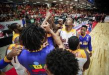 The USVI men's basketball squad breaks huddle. (FIBA photo)